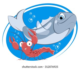 Vector illustration of a department of seafood