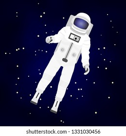 vector illustration depicting an astronaut in a outer space