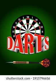 vector illustration depicting a board and a dart with a volumetric inscription darts for advertising the game