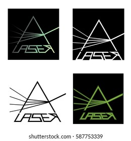 Vector illustration depicting four characters in the form of laser logo