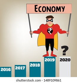 Vector illustration depicting growth of economy where the currency, in this case - Rupee is show as a superhero. Graph showing year wise growth.