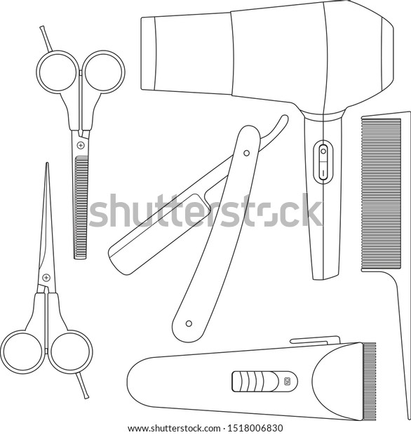 Hair Cutting Tools Drawing 17