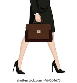 Vector illustration depicting the legs of a business woman in high heels with briefcase
