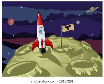 vector illustration depicting the moon is made from green cheese