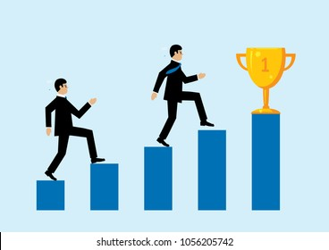 A vector illustration depicting two business men running upa  blue bar chart to reach a gold trophy. A metaphor on business success.