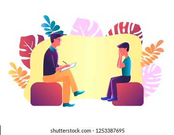 Vector Illustration of depressed boy talking to child psychologist about problems. Psychologist having session with patient. Psychotherapy counseling.