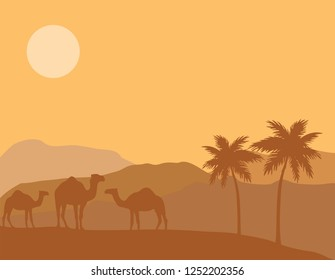 vector illustration of desert background. animal word, camels and palm trees nature background.