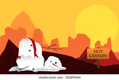 Vector illustration of desert canyon with sun and melting snowman