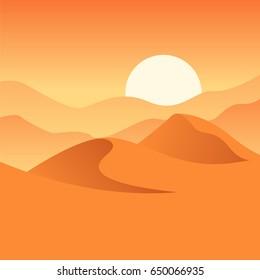 Vector illustration of desert. Dunes, sand and sunset. Orange composition. Wilderness image.