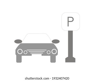 vector illustration design of a car pulling up next to a parking sign. parking spot sign
