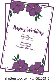 Vector illustration design of card happy day with round leaf wreath frame