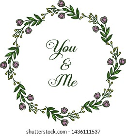 Vector illustration design of card you and me for bright purple wreath frames