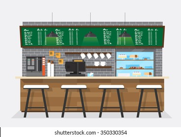 vector illustration design of coffee shop,coffee bar,counter,background,flat style