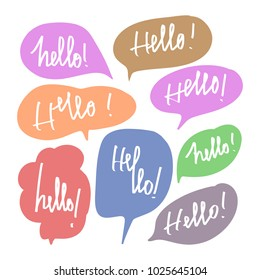 Vector illustration design colorful speech bubble balloons and hello phase calligraphy lettering.