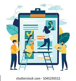vector illustration design concept on white background. metaphor for candidates for vacancies, review of summaries. small people are studying the application form
