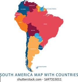 Vector illustration design of continent South America map with countries name and border,for website,template,wallpaper,brochure,leaflet,flyer,banner,presentation,projects