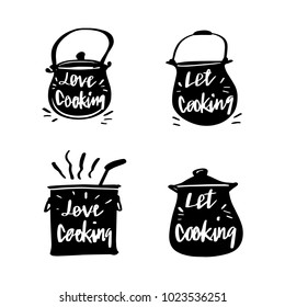 Vector illustration design cuisine, utensils label set and calligraphy, typography lettering cooking.