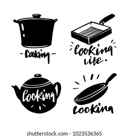 Vector illustration design cuisine , utensils label set and calligraphy, typography lettering cooking, cooking life.
