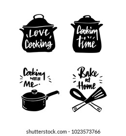 Vector illustration design cuisine , utensils label set and calligraphy, typography lettering love cooking, cooking time, cooking with me, bake at home.