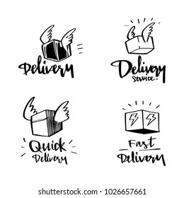 vector illustration design delivery logo and label collection set with calligraphy lettering, doodle style.