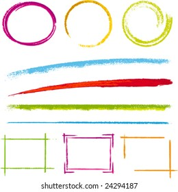 Vector illustration of design element grunge frames: circles and squares. Only global colors. CMYK. Easy color changes.