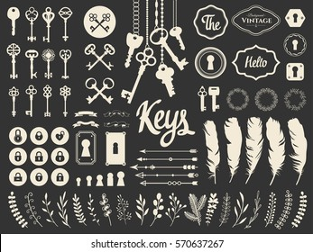 Vector illustration with design elements for decoration. Big silhouettes set of keys, locks, wreaths, boarders, branch, arrows, feathers on black background. Vintage style.
