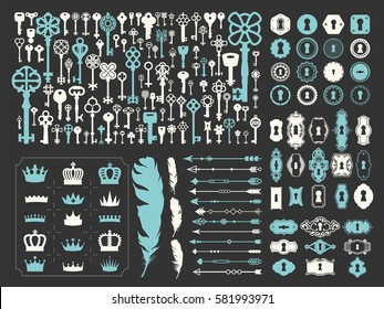 Vector illustration with design elements for decoration. Big silhouettes set of keys, locks, crown, boarders, arrows, feathers on black background. Vintage style.