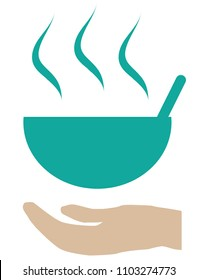 Vector illustration of design giving food for the poor and refugees. food sharing icon emblem feeding people. for charity and volunteer organizations