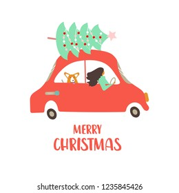 Vector illustration. Design greeting card with retro transport and cute characters. A woman with corgi in a family car is driving down the road. Poster for Christmas party.