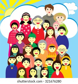 Vector illustration for design of  greeting card and other. A group (may be school, camp, class, big family and other) of  different people  in colorful clothes on the sky background