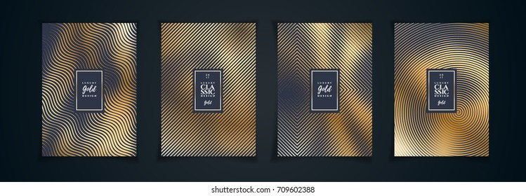 vector illustration design layout. Golden luxury pattern on a black background with a minimalistic geometric design. a set of graphics for the design of posters, flyers, cards, covers.