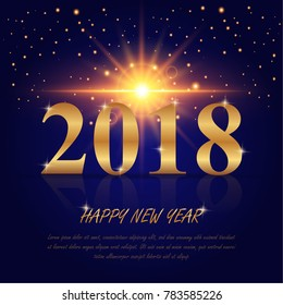 vector illustration design for Merry Christmas and Happy New Year 2018 background decoration with golden star and and Gold colors place for text.Greeting card design template 2018