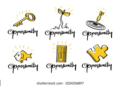 Vector illustration design Opportunity collection doodle style set,  opportunity, target, success, complete, growth up, solution, leadership, business concept.