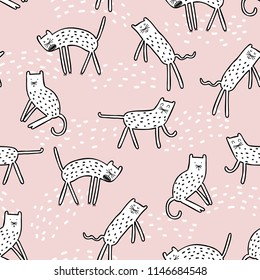 Vector illustration design pattern background adorable white cats on pink background. Scandinavian style. Good for kids fabric, textile, nursery wallpaper. Pastel colors.
