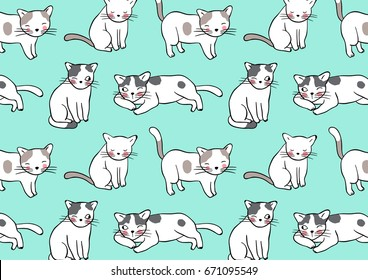 Vector illustration design pattern background adorable cats on green pastel.Doodle style.