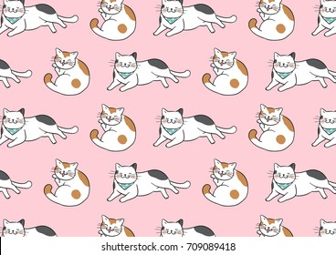Vector illustration design pattern background cute cats on pink color.Draw doodle style.