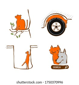Vector illustration design for pet rescue service. Cat stuck at tree, in hole sleeping on wheel a car. Set of pictograms - trouble with domestic cat. Care and help animal in trouble.