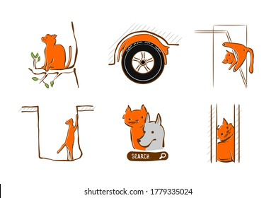Vector illustration design for pet rescue service. Cat stuck at window, tree, in hole sleeping on wheel a car. Set of pictograms - trouble with domestic cat. Care and help animal in trouble.
