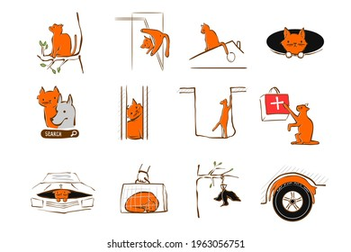 Vector illustration design for pet rescue service. Cat high up in tree, fell through a manhole, got stuck in a wall, stuck window, sleeps under hood car. Trouble domestic cat. Animal in trouble set