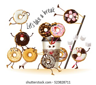 Vector illustration design a poster with cartoon characters donuts
