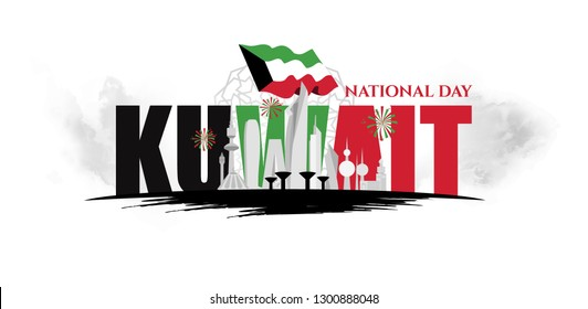 vector illustration. design of the schedule for holidays of Kuwait. 25th happy national day holiday of independence. February 26 is liberation  day of Kuwait.