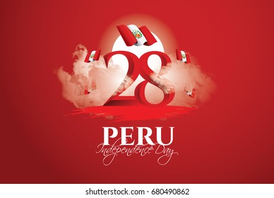 vector illustration. Design schedule for the national holiday of Peru Independence Day on July 28. Flag of Peru and design elements for decoration of posters and advertising posters.