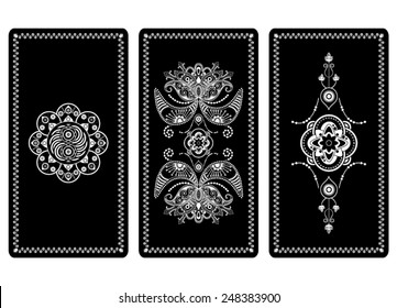 Vector illustration design for Tarot cards. Black and white rectangular design for invitation, background, cover, playing cards. Center decorative big element