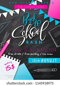 Vector illustration with design template for Back to school event poster with pencils, flag garland, paper page, stickers and Back to School hand lettering label on chalkboard with doodle stationery.