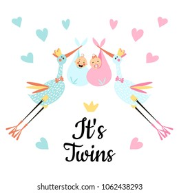 Vector Illustration. Design template card with hand lettering for baby shower. Cute funny storks and twins with different childish elements. Poster for the kid's birthday.