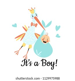 Vector Illustration. Design template card with hand lettering for baby shower. Cute funny stork and boy with different childish elements. Poster for the kid's birthday.