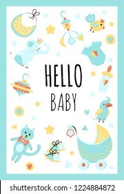 "Vector Illustration. Design template card with hand lettering for baby shower. Cute funny toys and different childish elements. Poster for the kid's birthday with text ""Hello baby""."