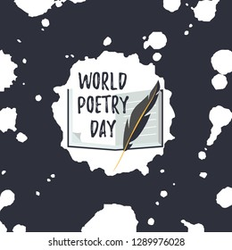 Vector Illustration. Design template card for World Poetry Day. Simple text in sketchpad with quill pen.
