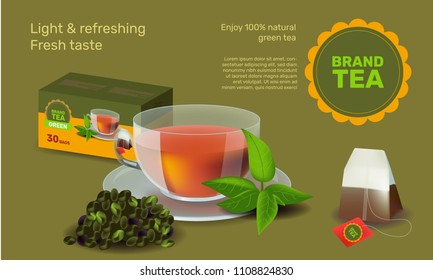 Vector illustration design template in realism style about tea