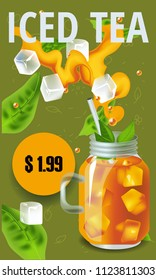 Vector illustration design template in realism style about iced tea